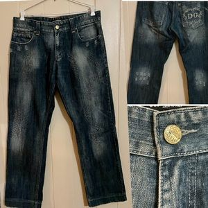 DOLCE&GABBANA Distressed Jeans Embossed Logo Sz36